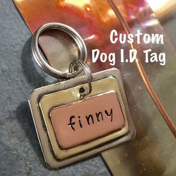 CUSTOM 3-D DOG I.D. Collar Tag | Personalized Handmade Layered Metal Small Tag | 3DDOGTAG115