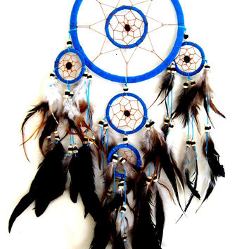 TURQUOISE BLUE SUEDE FEATHER & BEADS BOHO NATIVE DREAMCATCHER