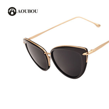AOUBOU Fashion Office Lady Cateye Sunglasses Women Vintage Metal Frame Black Glasses Lentes De Sol Para Mujer Grandes Marca 6155