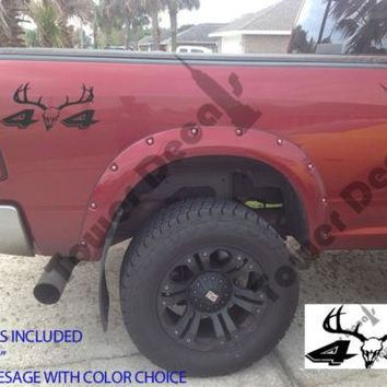4X4 8 POINT DEER TRUCK BED DECAL FOR CHEVY DODGE FORD NISSAN TOYOTA