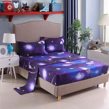 YOUSA Moon and Stars Print Bed Sheet Set 3D Blue Galaxy Bedding Collections (Twin,01)