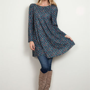 Simply Noelle Floral Ditsy Print Tunic in Agave