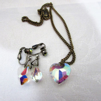 AB Crystal Heart Necklace Teardrop Earrings