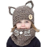 Europe and the United States foreign hot handmade woolen hat scarf fox children cat winter warm dual-purpose baby knitted hat 171123