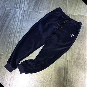 """Adidas"" Women Men Loose Exercise Sport Casual Pleuche Thickening Pants Trousers Sweatpants Blue I-MG-FSSH"