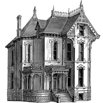 Victorian House Image, Victorian Architecture Image, Old House, LARGE Sheet[[VICTORIAN HOUSE]]Victorian Template for Crafts to Totes Pillows