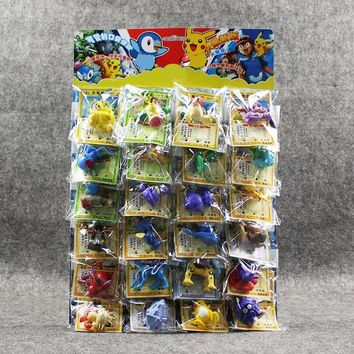 24pcs/lot Figures Toys 2-6cm Charizard Eevee Bulbasaur Suicune PVC Mini Model Toys with Cards