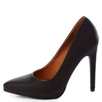 Qupid Python Textured Pointed Toe Pumps by Charlotte Russe - Black