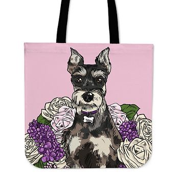 Illustrated Schnauzer Linen Tote Bag