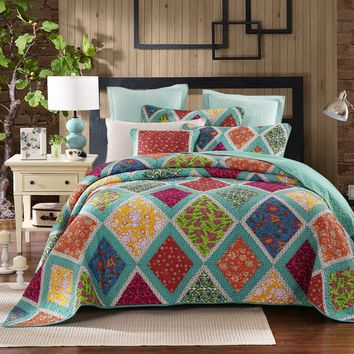 Dada Bedding Fairy Forest Glade Real Patchwork Reversible Bohemian Cotton Quilted Bedspread Set - Bright Vibrant Colorful Boho Teal Turquoise Blue Floral Print (JHW570)