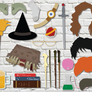 Harry Potter Photobooth Props - Wizard Party Set & Sign - Printable Party Wedding Hogwarts Theme Paper - O241057 - INSTANT DOWNLOAD