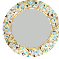 Wall Mirror -- Round Custom Mosaic Mirror in Yellow, Gold, Aqua, Tan