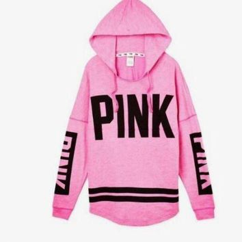 DCCKN7G Victoria's Secret PINK Women's Fashion Letter Print Hooded Long-sleeves Pullover Tops Sweater