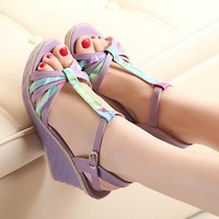 sandals stockings Picture - More Detailed Picture about 2014 summer open toe flat heel wedges color block decoration platform high heeled sandals female Picture in Robes from Free purchase.