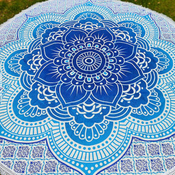 Round Beach Blanket Mandala Blue Lotus Flower, Hippie Tapestries, Garden Baby Mat, Garden Yoga Mat, Beach Throw Room Decor, Pure Cotton 3073