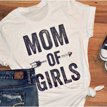 DCCKVQ8 Fashion Casual Simple Female 'MOM OF BOYS' Letter Print Round Neck Short Sleeve Cotton T-shirt Tops