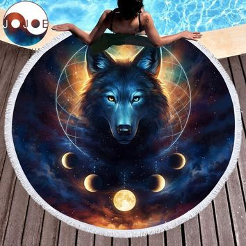 Dream Catcher by JoJoesArt Round Beach Towel for Adults Microfiber Toalla Moon Eclipse Blanket Tassel Wolf Galaxy Tapestry 150cm