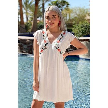 Off To Paradise White Embroidered Dress
