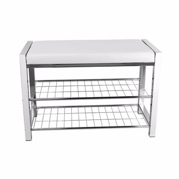 DanyaB White Leatherette Storage Entryway Bench with Chrome Frame