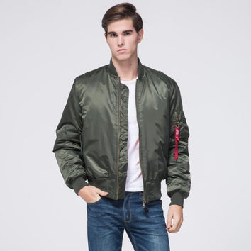 Freelee 2017 High Quality Ma1 Army Green Military red varsity Ma-1 Flight Jacket Plus size Pilot US Air Force Men Bomber Jacket