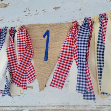boy high chair banner - gingham banner - 1st  birthday decor - cake smash decor - farm birthday - barnyard party - country birthday party