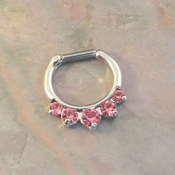 16 Gauge Pink Crystal Daith Hoop Septum Ring Clicker