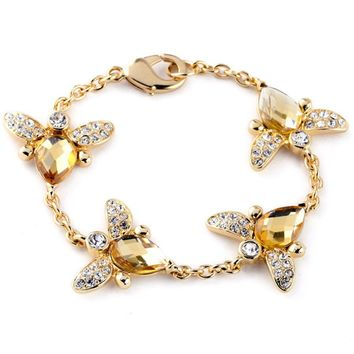Casual Honeybee Crystal Chain Bracelet