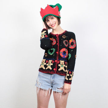 Vintage Ugly Christmas Sweater Tacky Christmas Sweater Ugly Xmas Cardigan Teddy Bear Wreath Holiday Party Black Jumper Knit S Small M Medium
