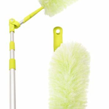 Pure Care Microfiber Duster with Extension Pole,Flexible, Bendable, Washable, Lint Free, Hypoallergenic Large Microfiber Head, Includes Lightweight Telescopic Pole, Saves Time & Money
