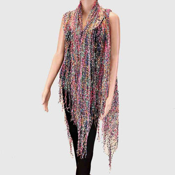Fringe Net Sheer Beach Cover Up Poncho FLORAL MULTI PINK
