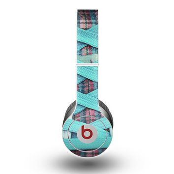 The Turquoise Laced Shoe Skin for the Beats by Dre Original Solo-Solo HD Headphones