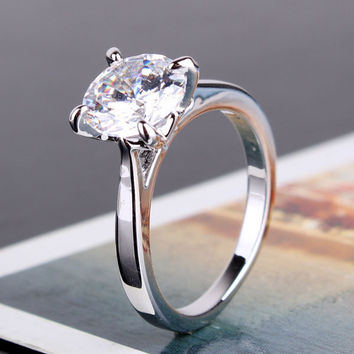 Cathedral Set CZ Solitaire Engagement Ring