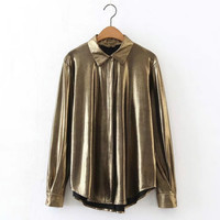 Women Button Down Collar Shirt Metallic Shiny Gold Pleats Casual Formal Fashion Loose Slim Fit Blouse Shirts All Match