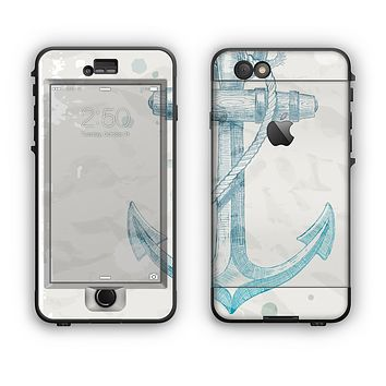 The Vintage White and Blue Anchor Illustration Apple iPhone 6 Plus LifeProof Nuud Case Skin Set