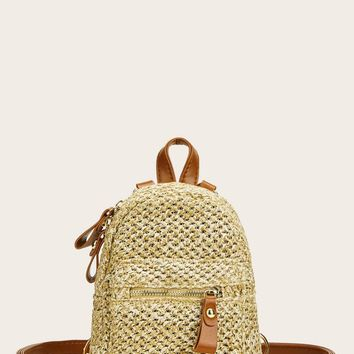 Pocket Front Woven Backpack