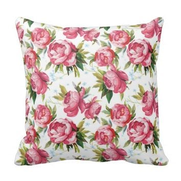 Stylish Vintage Pink Floral Pattern Throw Pillow
