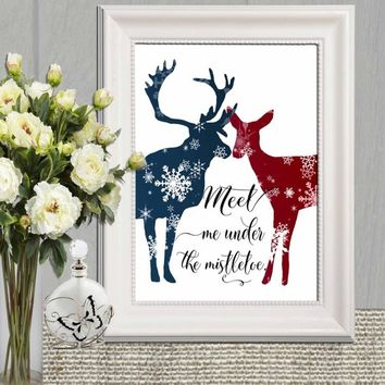 Romantic Christmas deer printable Christmas decor Meet me under the mistletoe Digital Christmas card Red blue Holiday decoration Wall art