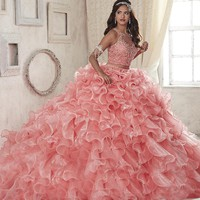 New 2 Piece Quinceanera Gowns Pink Scoop Organza Ball Gown Prom Dress