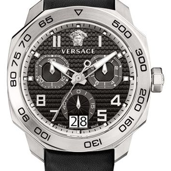 Men's Versace 'Dylos' Chronograph Leather Strap Watch, 44mm