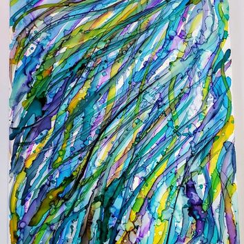 Alcohol Ink on Yupo Paper.  Beautiful Abstract Wall Art that is Multicolored, 11x14 Size. Ink Painting, Yupo Paper Art.