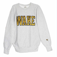Vintage 90s Wake Forest University Student Crewneck Sweatshirt | Adult Size Extra Large XL | Retro 1990s Alumni Graduation Gift