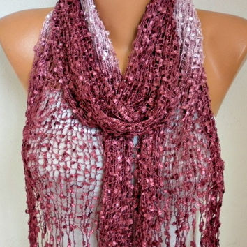Plum Knitted Ombre Scarf,Wedding Shawl,Graduation,Bridal Accessories,Bridesmaid Gift,Cowl, Gift Ideas For Her, Women Fashion Accessories
