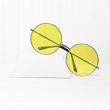Almost Famous Yellow Round Sunglasses