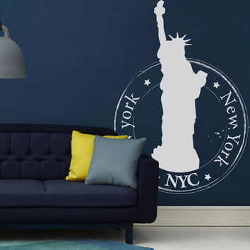 Wall Decal Vinyl Sticker Art Decor New York NY USA statue liberty America stamp print travel monument attractions country town street (i121)