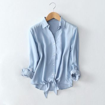 Grace Mint Tencel Cotton Denim Shirt