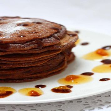 Recipes - Eggless Chocolate Pancakes Served with Orange and Chocolate Sauce