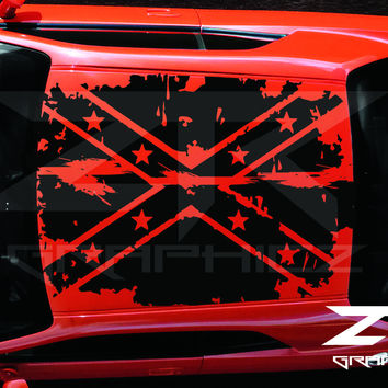 2011-2014 Dodge Challenger Distressed Confederate Flag Roof Decal