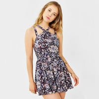 Floral Printed Criss Cross Neckline Mini Dress