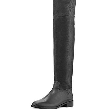 Tory Burch Simone 35MM Over the Knee Boot Vintage Buffalo Black Leather Boot