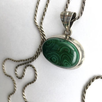 Sterling Silver 30 Inch Rope Chain Necklace with Gorgeous Natural Green Malachite in Sterling Bezel Setting